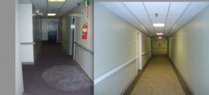 Hallway, before and after renovation