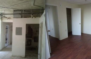 Apartment interior, before and after renovation