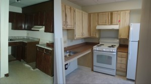 Kitchen, before and after renovation