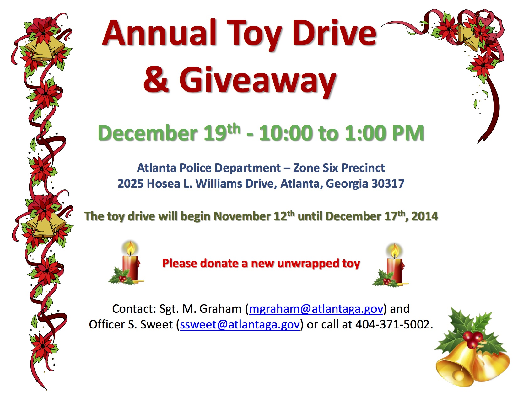 Christmas giveaways atlanta ga
