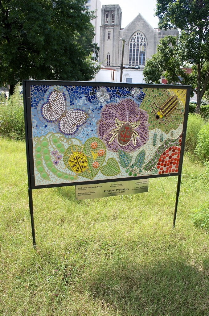 Coffin created this mosaic for the 2012 Art on the BeltLine exhibit. It now stands at the Truly Living Well community gardens in Old Fourth Ward.
