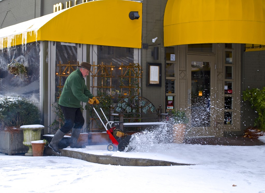 After the worst of the most recent snow, Murphy's used a snow-blower to clear a path for customers.
