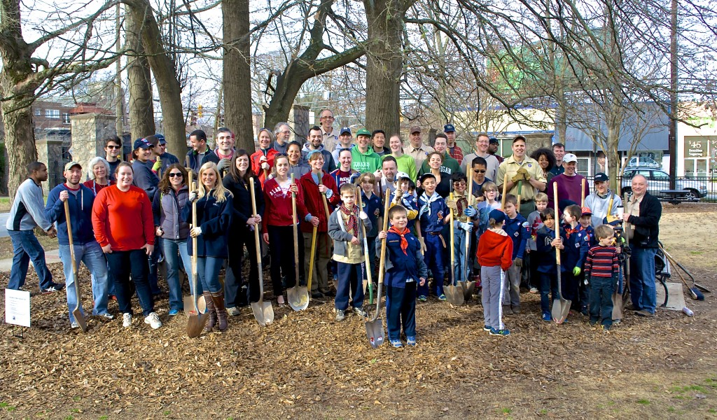 Volunteers meet at North Highland Park for the 2015 Trees Atlanta planting event.