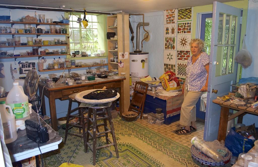 Coffin's workshop studio where she creates her mosaics.