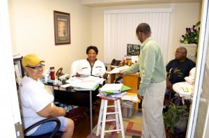 Annie Copeland and Brandon Copeland meet with new Briarcliff Summit residents