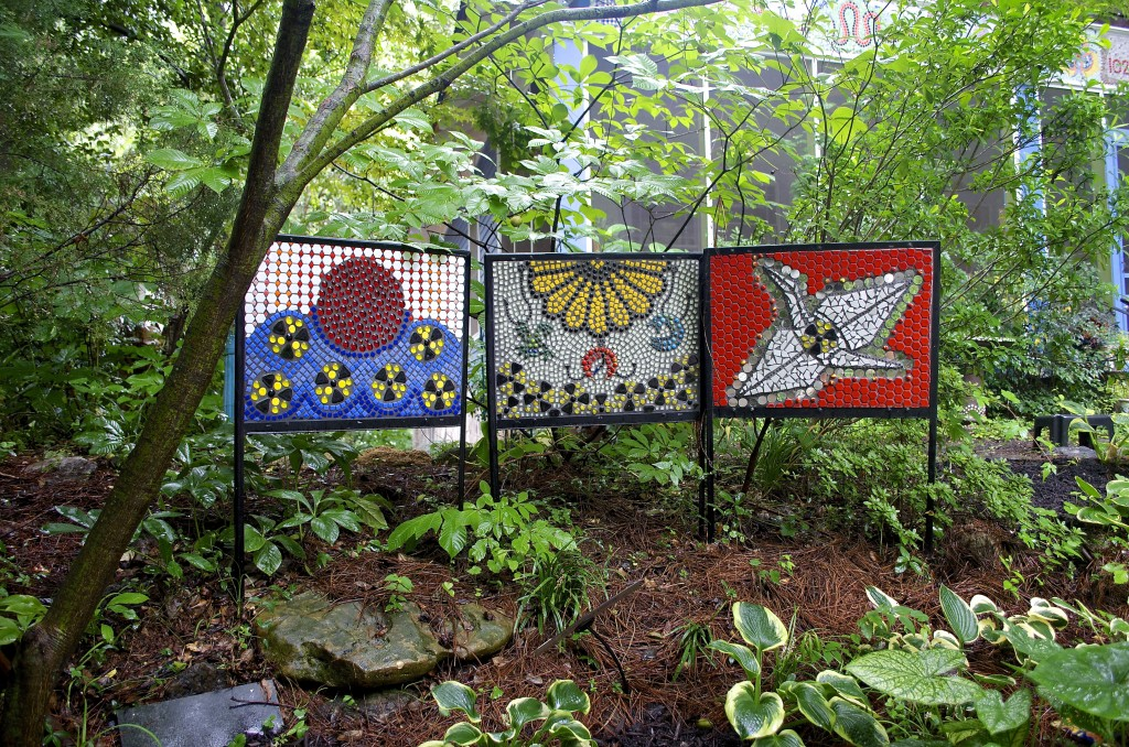 Coffin created this three panel mosaic to illustrate the impact of the 2011 Fukushima Daiichi nuclear power disaster.