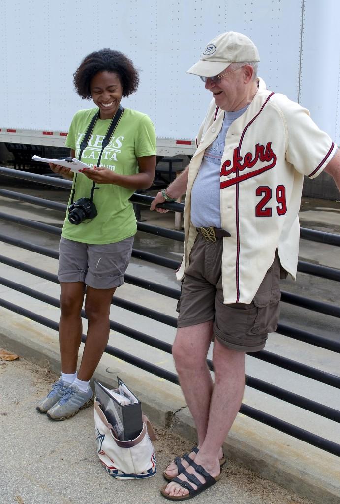 Trees Atlanta's Bethany Clark and Mann share a pleasant moment.