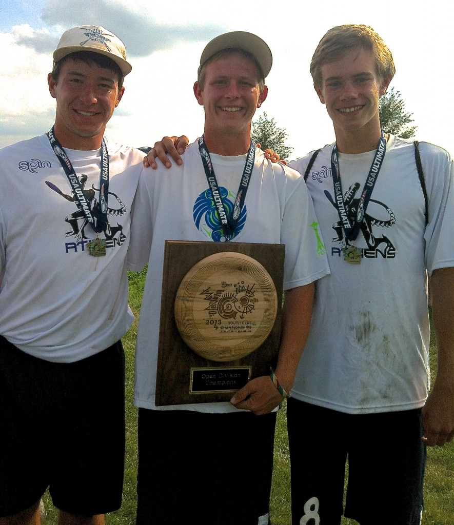 Sebastian DiFrancesco, Riley Erickson and Nathan Haskell with the championship trophy. Photo courtesy Rob Brownell.