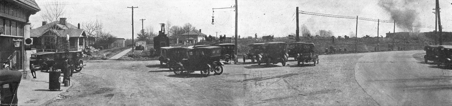 "6"" x 24"" art print of the Virginia/N. Highland intersection looking west. The land is being cleared by oxen for the development of the Virginia Highlands subdivision established by Ben R. Padgett, Jr. of L.W. Rogers Realty. Circa 1923. Courtesy of Tom Catron. ($40 ea.)"